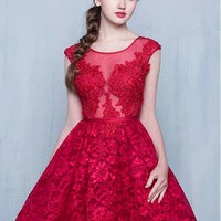 [79.99] Fabulous Tulle Scoop Neckline Hi-lo A-line Homecoming Dresses With lace Appliques - dressilyme.com