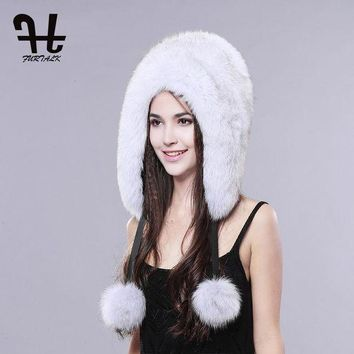 DCCKGQ8 FURTALK Whole set of fox fur skin Natural fox fur hat for women fur trapper hat brand new fashion headgear hat