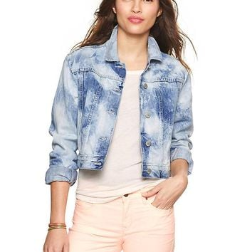 Gap Women 1969 Bleached Denim Crop Jacket