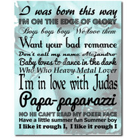 Lady GaGa Art Print Song Lyrics Typography 8x10 Subway Poster