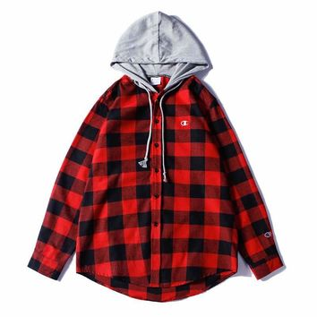 Champion Fashion New bust Embroidery Logo And Back Letter Print Plaid Hooded Long Sleeve Sweater Top Red