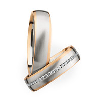 Rose Gold with White Gold, Diamond Wedding Band Set - 10.5 / 6.5 / Rose Gold & Silver