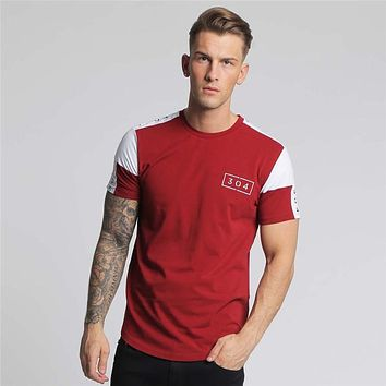 Men's Cotton Fitness Round Neck Short Sleeve Men Print T-Shirt
