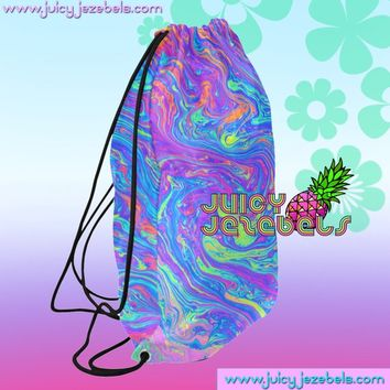 ACID OIL SLICK Drawstring Backpack Colorful Bag Mini Backpack Women School Backpack Small Backpack Rave Outfit Rave Clothing Music