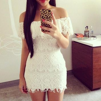 Women's Short Mini Dress Evening Club Cocktail Summer Casual white lace low cut plus size