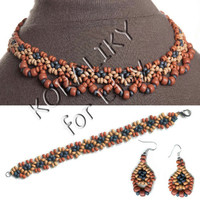 Handmade Jewelry Natural Burned Clay NECKLACE, BRACELET, EARRINGS.