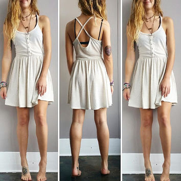 A Button Up Striped Sundress- Ivory