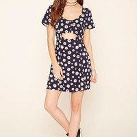Daisy Print Cutout A-Line Dress
