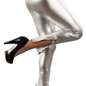 Vinyl Vegan Leather Ankle Zipper Leggings in Silver