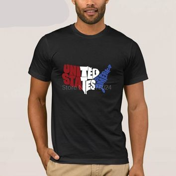 United States Of America Typography Map Patriotic T-shirt