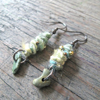 Eco-friendly earrings - Wire wrapped fiber earrings - Unique Jewelry