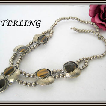 Sterling Silver Necklace - Squash Blossom - Tiger Eye Stones - Signed Mexico 925 Necklace