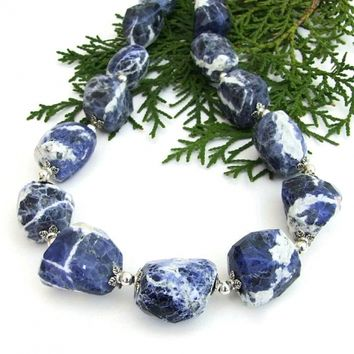 Blue and White Sodalite Gemstone Necklace, Elegant Chunky Handmade Jewelry for Women