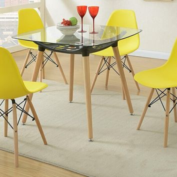 5 pc Mid Century collection square glass top and yellow plastic seat dining table and chairs