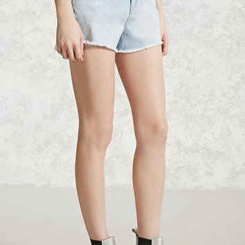 Distressed Frayed Denim Shorts