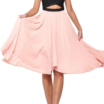 Pink Pleated Skirt Sexy Cutout Midi Dress