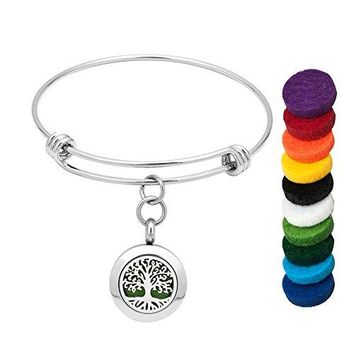 Third Time Charm Aromatherapy Essential Oil Diffuser Family Tree Of Life Locket Bracelet Stainless Steel Bangle Bracelets Jewelry 10 Refill Pads Tree 1
