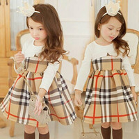Girls Full Plaid Dress