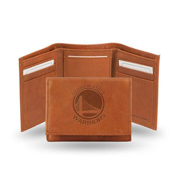 Golden State Warriors  Tri-Fold Wallet (Pecan Cowhide)
