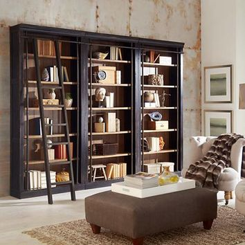Toulouse Aged Ebony 6-Shelf Home Library 3-Bookcase Wall - #9X924 | Lamps Plus