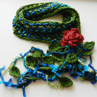 Crochet Lariat Floral Scarf- crochet necklace- spring scarf- woven scarf- lariat- accessories- handmade