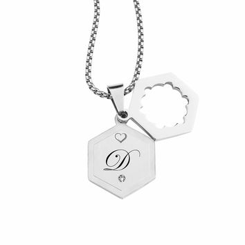 Double Hexagram Initial Necklace With Cubic Zirconia By Pink Box - D
