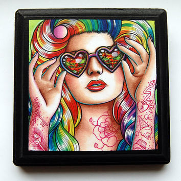 20 PERCENT OFF 5x5 in Art Block Plaque - Ready to Hang Art Print Mounted on Wood - Sweet Heart