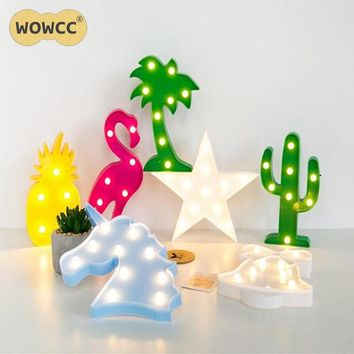WOWCC Flamingo Led Night Light Cartoon Unicorn Head Pineapple Lantern Christmas Wedding Decoration Tropical Party supplies