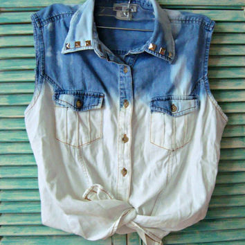 Studded Dip Dye Bleached Vest - Free Shipping