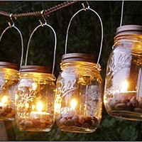 Mountain Woman Products Four Glass Clear Mason Jar Lanterns Light Candle Holder ...
