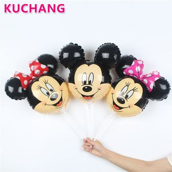 20pcs Mickey Minnie Mouse Head Cartoon Shape Foil Balloons With Stick 14.5inch Small Childrens Toys Globos Party Decorations