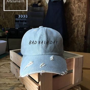 Bad Hair Day Dad Hat, Denim Cap, Jean Cap, Bad Hair Day Cap, Girlfriend gift, Low-Profile Pinterest Dad Hat Baseball Cap