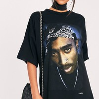 2Pac Portrait Black T-Shirt Dress