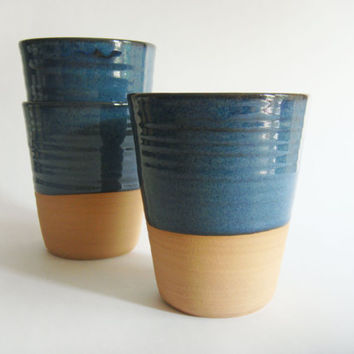 Made to order - Four mugs without a handle, blue ceramic coffee cups or large tumbler, Forest series