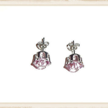 Pink Stud Crystal Rhinestone Earrings