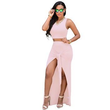 Charming Pink Two Pieces Club Dress Knotted Front Crop Top Women dresses Sleeveless tank Floor Length Maxi Dresses