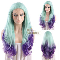 "Long Wavy 28"" Light Blue Mixed Purple Lace Front Wig Heat Resistant"