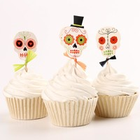 24pcs/lot Halloween skull Cupcake Wrappers Liners Party Decorations #03
