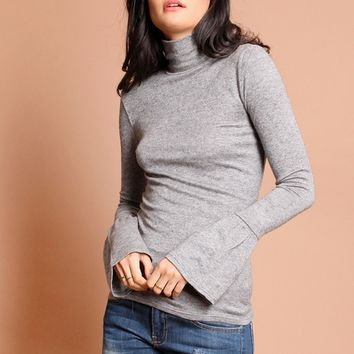 Lucky Numbers Turtleneck In Gray | Threadsence
