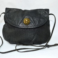 Vintage Black Leather Crossbody Bag Gold Lion Head Barganza