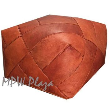 ZigZag Rustic Brown- Square Moroccan Leather Pouf