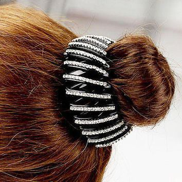 DCCKWJ7 Fashion Bird Nest/ Expanding Tail Hair Bun Holders Clips Grips Clamps Claw with Rhinestones Hair Accessories C2