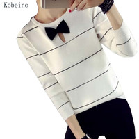 2016 Autumn Round Neck Striped Women Sweaters Long Sleeve Pullover Fashion Knitted Female Maglioni Cute Bow Chompas Mujer Sueter
