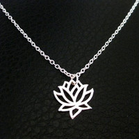 silver lotus pendant necklace,infnite necklace, tiny necklace, tiny silver neckl