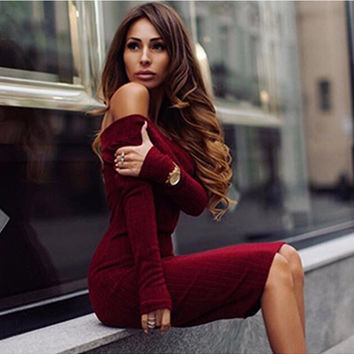 Off-Shoulder Knit Sweater Dress