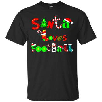 Santa Loves Football T-Shirt Hoodie Football Lovers