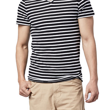 Guys Variegated Stripe V-Neck Tee