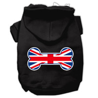 Bone Shaped United Kingdom (Union Jack) Flag Screen Print Pet Hoodies Black Size Lg (14)