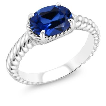 2.15 Ct Oval 9x7mm Blue Simulated Sapphire 925 Sterling Silver Ring
