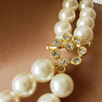 Bridal Pearl handmade with rhinestone necklace